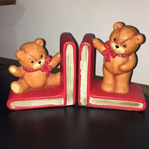Vintage Enesio Lucy & Me Teddy Porcelain Book Ends